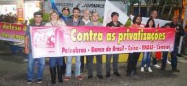 Sindicato participa de ato contra as privatizações em Mauá